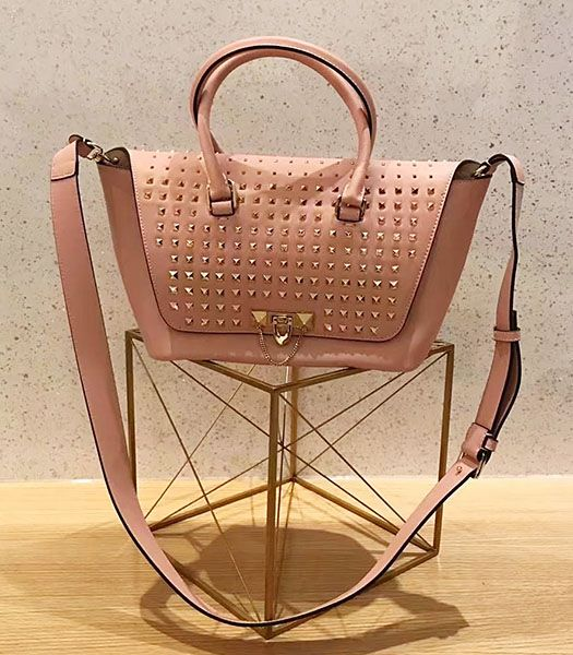 Valentino Demilune Pink Original Leather Rivets Small Tote Bag