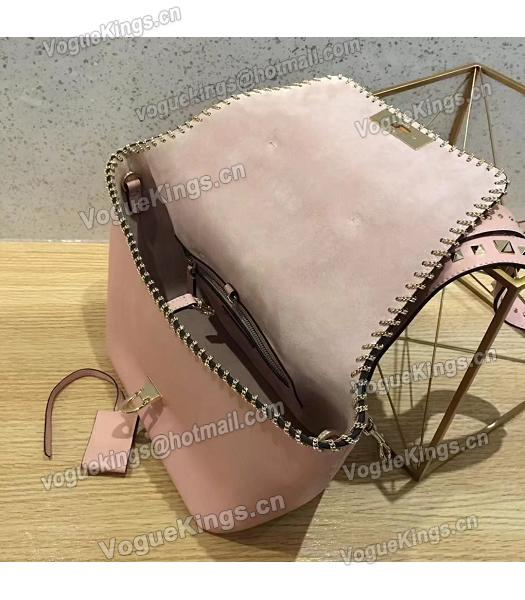 Valentino Demilune Small Double Handle Bag Pink Original Leather-3