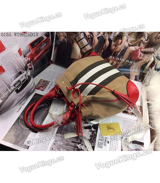 Burberry Canvas With Red Leather Tassel Tote Bag-2