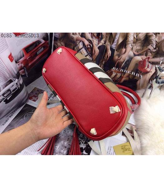 Burberry Canvas With Red Leather Tassel Tote Bag-3