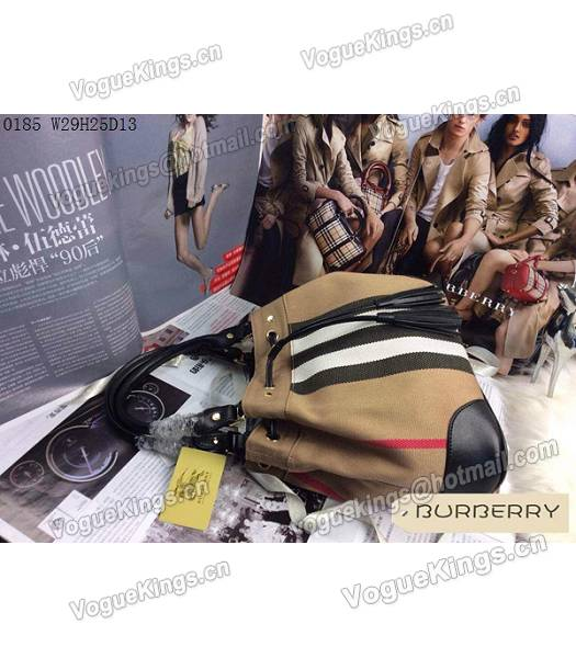 Burberry Canvas With Black Leather Tassel Tote Bag-2