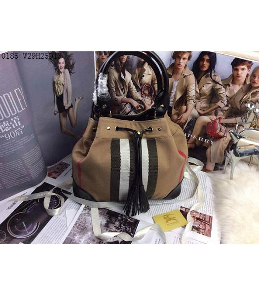 Burberry Canvas With Black Leather Tassel Tote Bag-4