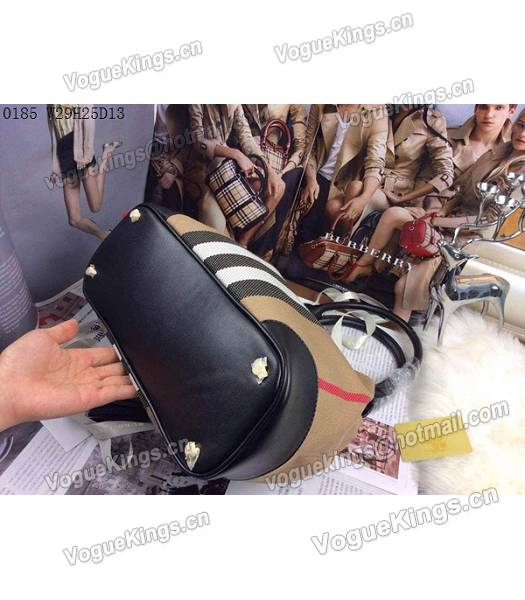 Burberry Canvas With Black Leather Tassel Tote Bag-5