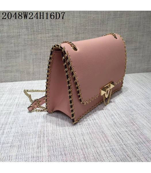 Valentino Original Leather Rivets Golden Chains Bag Pink-1