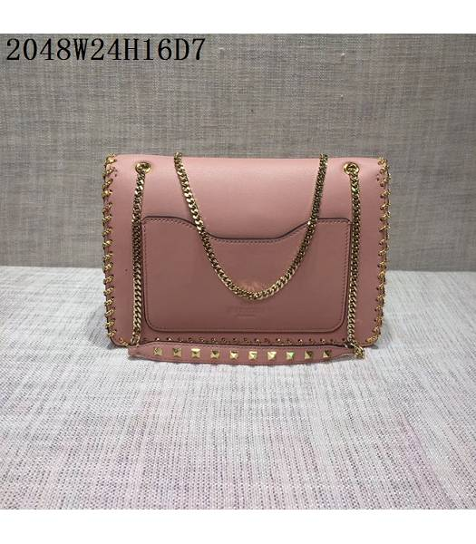 Valentino Original Leather Rivets Golden Chains Bag Pink-2