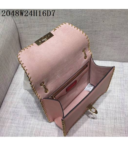 Valentino Original Leather Rivets Golden Chains Bag Pink-3