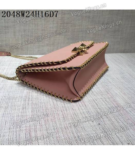 Valentino Original Leather Rivets Golden Chains Bag Pink-4
