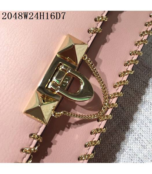 Valentino Original Leather Rivets Golden Chains Bag Pink-5