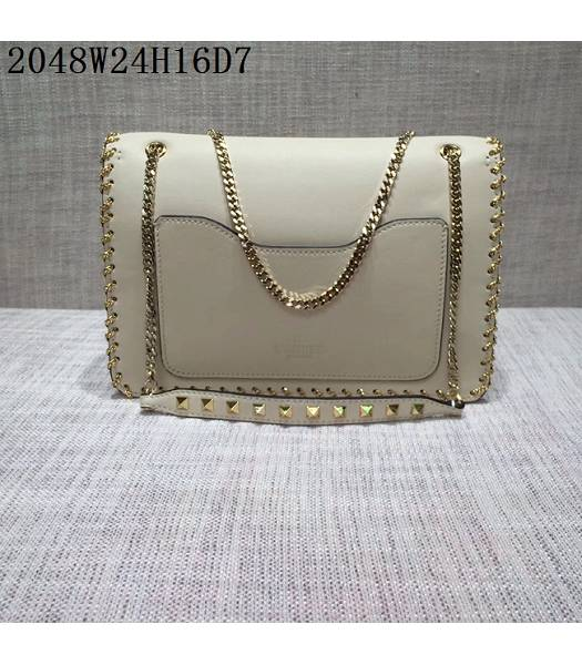 Valentino Original Leather Rivets Golden Chains Bag White-1