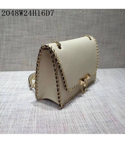 Valentino Original Leather Rivets Golden Chains Bag White-2