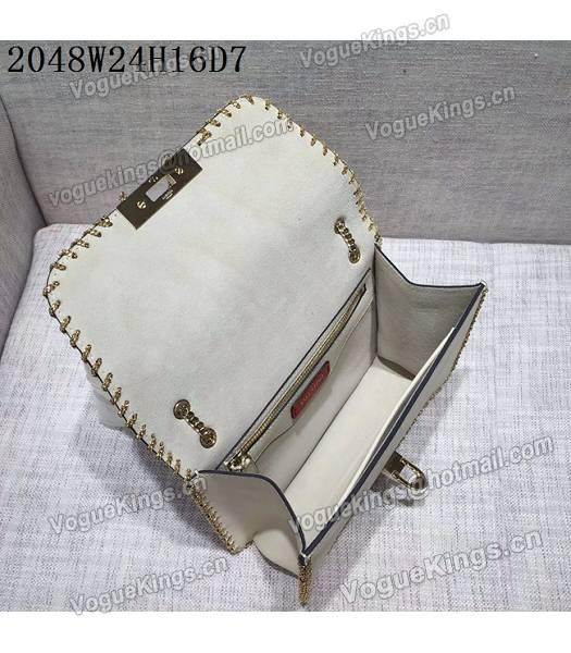 Valentino Original Leather Rivets Golden Chains Bag White-4
