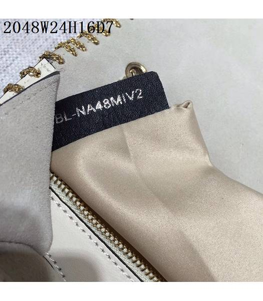 Valentino Original Leather Rivets Golden Chains Bag White-5