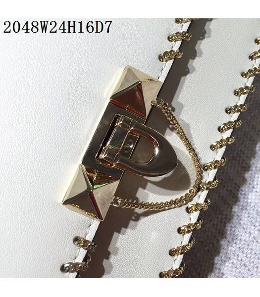 Valentino Original Leather Rivets Golden Chains Bag White-6