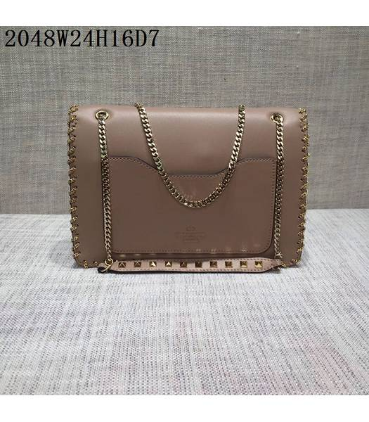 Valentino Original Leather Rivets Golden Chains Bag Nude Pink-1
