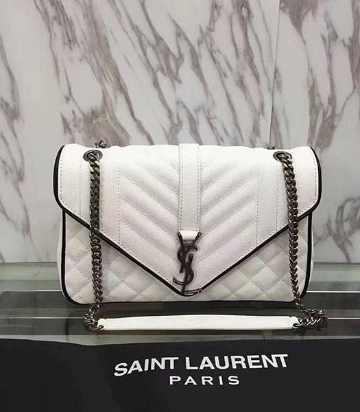 YSL Monogram White Originsl Caviar Matelasse Leather With Black Side 27cm Silver Chains Bag