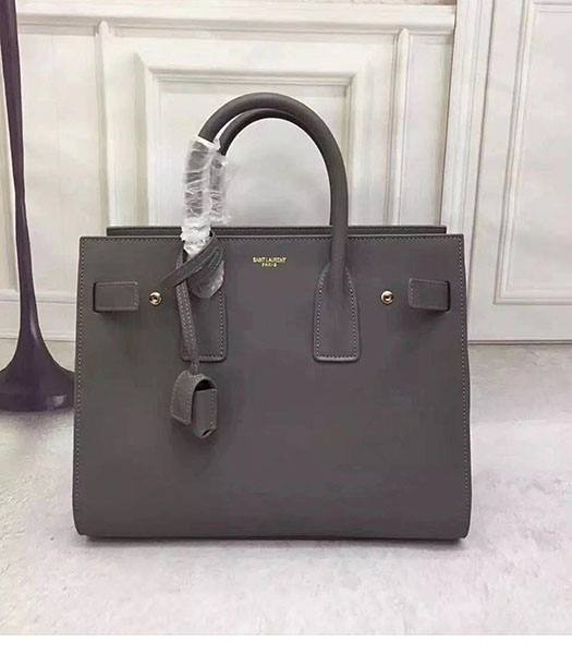YSL Sac De Jour Souple 32cm Tote Bag In Grey Original Calfskin Leather With Golden Metal