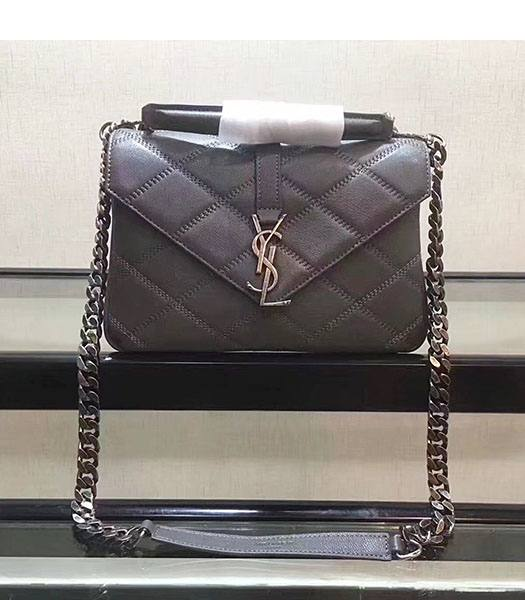 YSL Grey Square Lambskin Leather Silver Chains 24cm Top Handle Bag