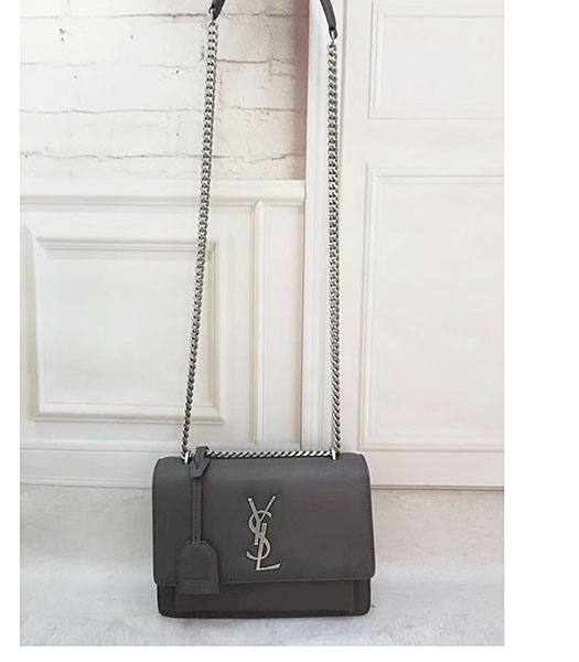 YSL Kate Grey Upper Original Calfskin Leather Silver Chains 22cm Shoulder Bag