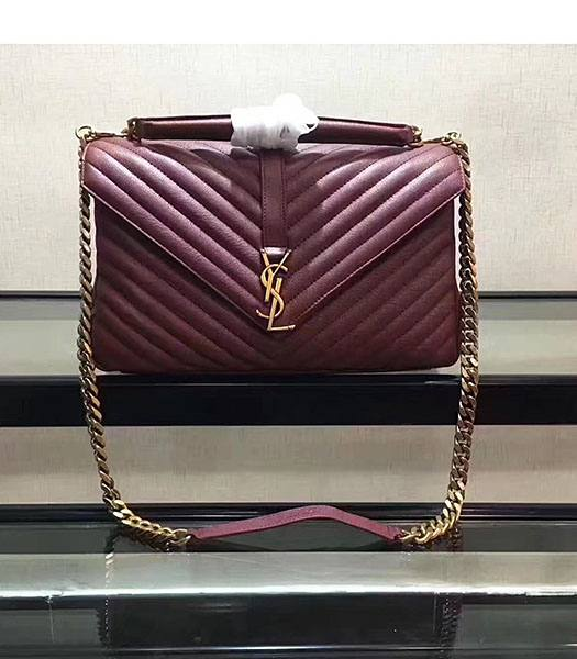YSL Jujube Matelasse Origianl Leather Golden Chains 32cm Top Handle Bag