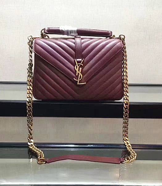YSL Jujube Matelasse Origianl Leather Golden Chains 24cm Top Handle Bag