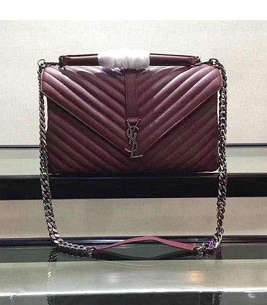 YSL Jujube Matelasse Origianl Leather Silver Chains 32cm Top Handle Bag