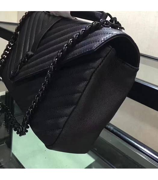 YSL Black Matelasse Origianl Leather Black Chains 32cm Top Handle Bag-1