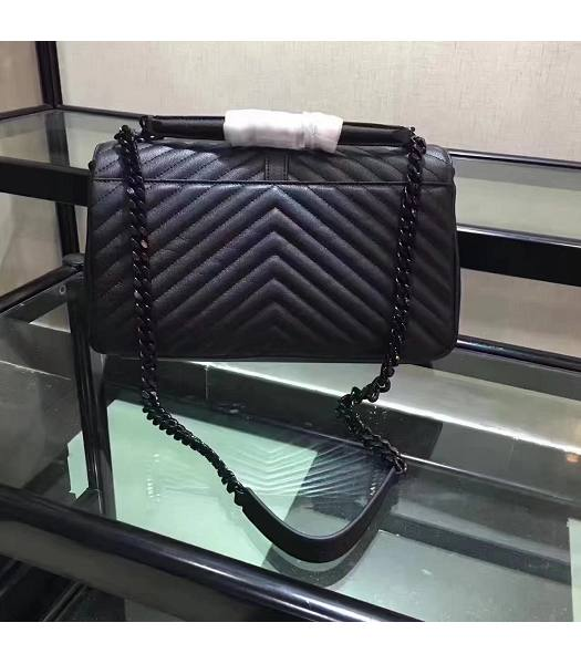 YSL Black Matelasse Origianl Leather Black Chains 32cm Top Handle Bag-6