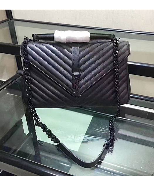 YSL Black Matelasse Origianl Leather Black Chains 32cm Top Handle Bag