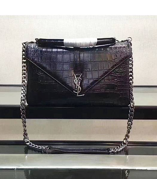 YSL Black Croc Veins Leather Silver Chains 32cm Top Handle Bag