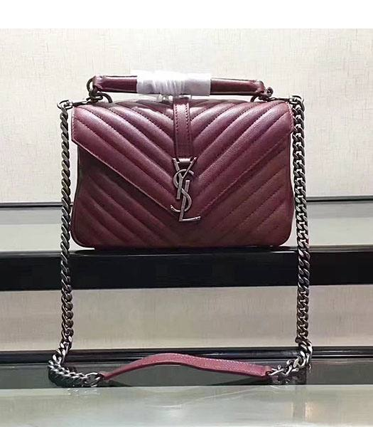 YSL Jujube Matelasse Origianl Leather Silver Chains 24cm Top Handle Bag