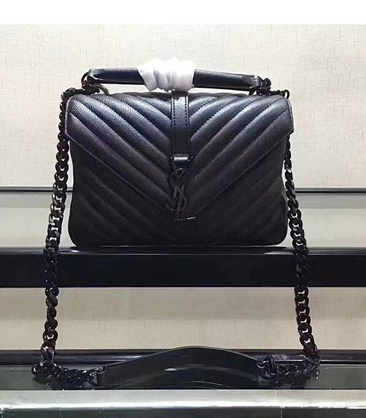 YSL Black Matelasse Origianl Leather Black Chains 24cm Top Handle Bag