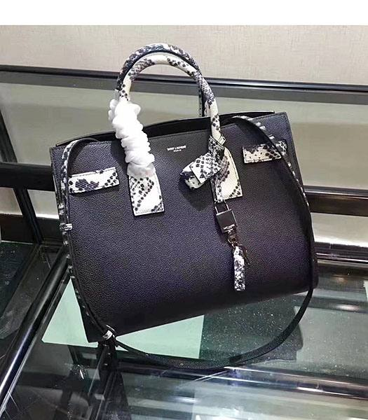 YSL Sac De Jour Souple 32cm Tote In Black Caviar With Snake Veins Leather