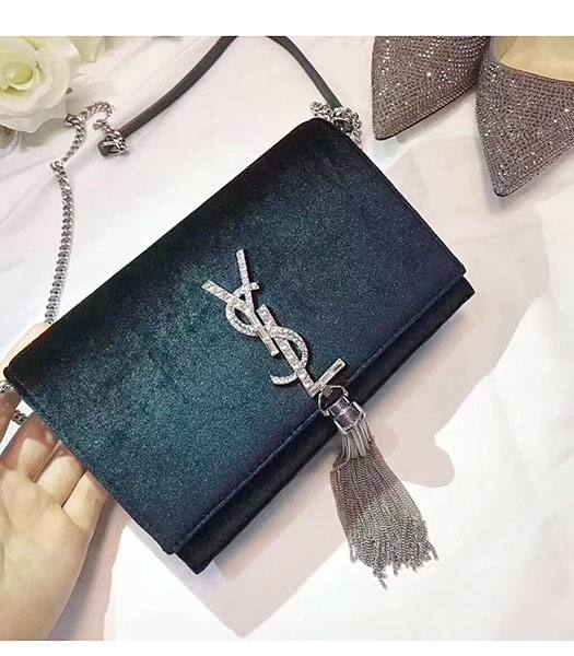 YSL Dark Green Velvet Leather Diamond Logo Tassel Silver Chains 19cm Shoulder Bag