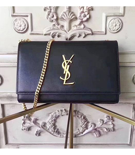 YSL Monogram Black Origianl Calfskin Leather Golden Chains 24cm Shoulder Bag