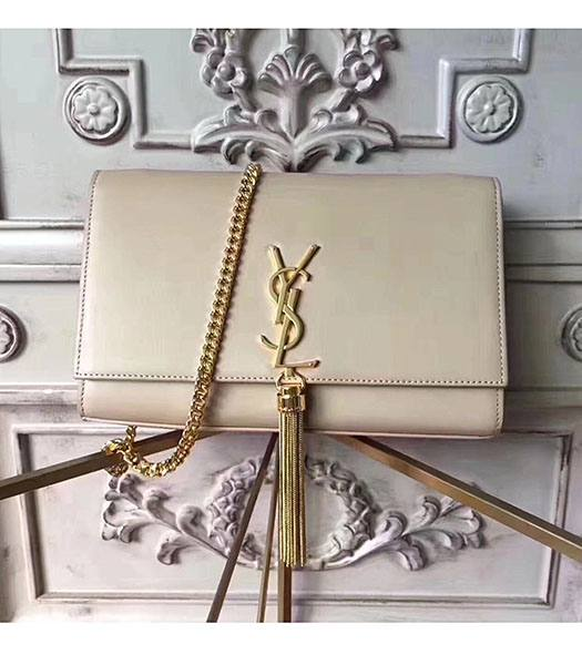 YSL Monogram Apricot Origianl Calfskin Leather Golden Chains With Tassel 24cm Shoulder Bag