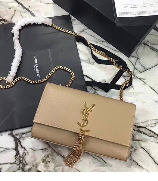 YSL Monogram Apricot Original Caviar Calfskin Leather Golden Chains With Tassel 24cm Shoulder Bag