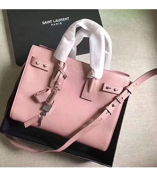 YSL Nano Sac De Jour Pink Litchi Veins Leather Rivet 26cm Tote Shoulder Bag