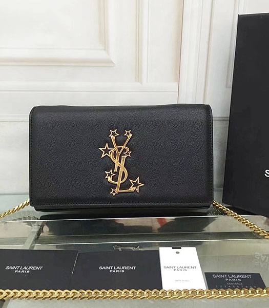 YSL Kate Monogram Black Caviar Leather Golden Chains Stars Rivets 22cm Gourmette Bag