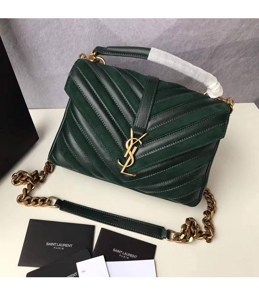 YSL Monogram Green Matelasse Calfskin With Scrub Leather Golden Chains 24cm Top Handle Bag-1