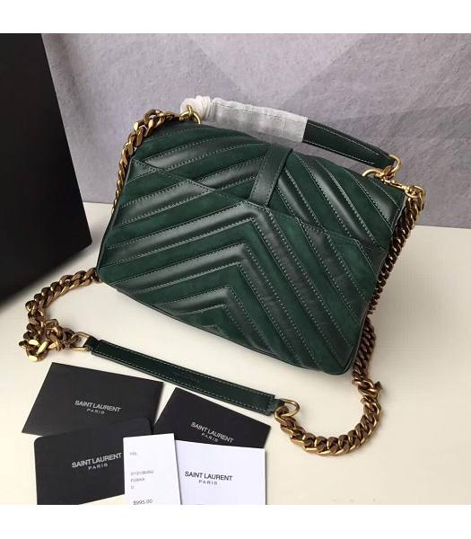 YSL Monogram Green Matelasse Calfskin With Scrub Leather Golden Chains 24cm Top Handle Bag-2
