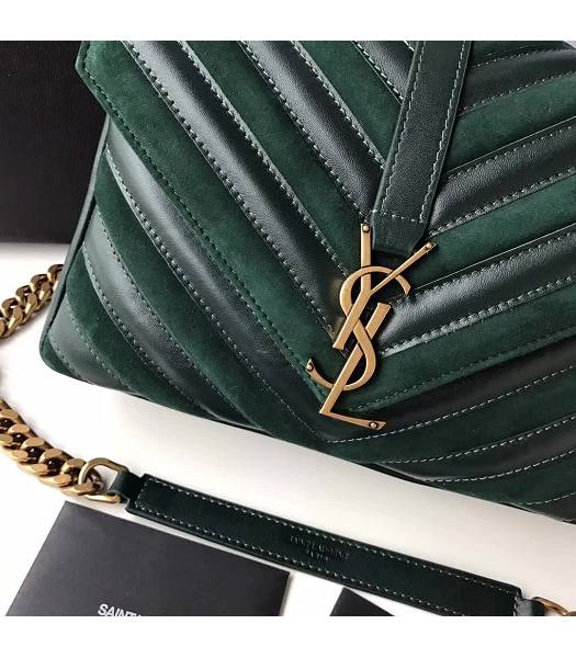 YSL Monogram Green Matelasse Calfskin With Scrub Leather Golden Chains 24cm Top Handle Bag-3