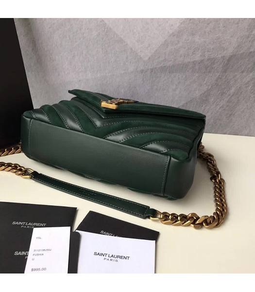 YSL Monogram Green Matelasse Calfskin With Scrub Leather Golden Chains 24cm Top Handle Bag-4