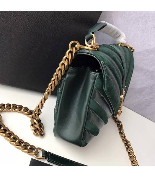 YSL Monogram Green Matelasse Calfskin With Scrub Leather Golden Chains 24cm Top Handle Bag-5