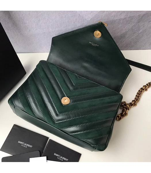 YSL Monogram Green Matelasse Calfskin With Scrub Leather Golden Chains 24cm Top Handle Bag-6