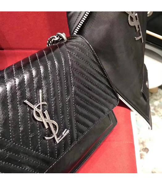 YSL Sunset Black Matelasse Oil Wax Leather Silver Chians 22cm Shoulder Bag-4