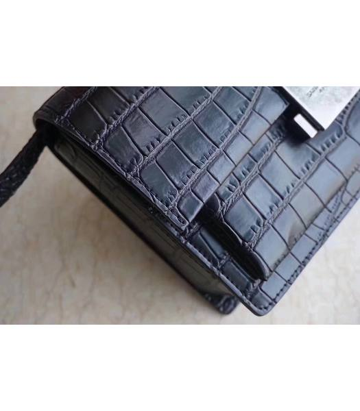 YSL Hight School Bellechasse Black Origianl Croc Veins Calfskin Silver Buckle 22cm Top Handle Bag-4