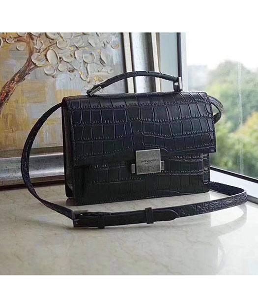 YSL Hight School Bellechasse Black Origianl Croc Veins Calfskin Silver Buckle 22cm Top Handle Bag