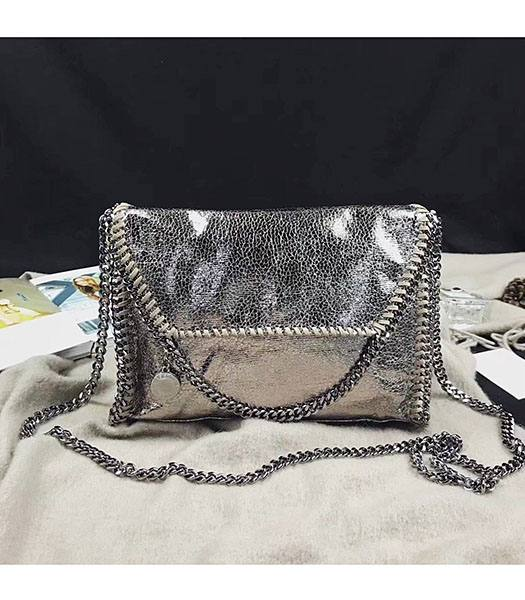 Stella McCartney Falabella Golden Oil Wax 22cm Shoulder Bag Silver Chains