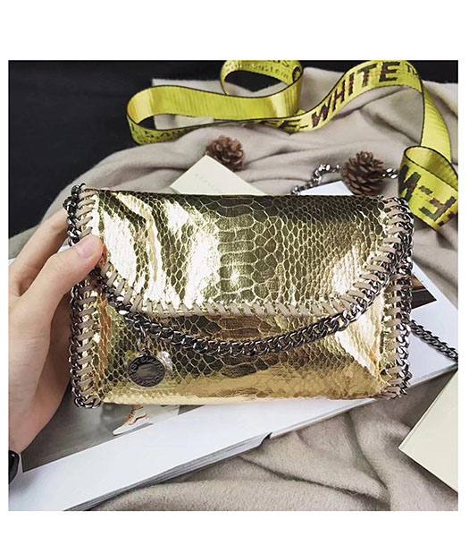 Stella McCartney Falabella Golden Snake Veins Oil Wax 22cm Shoulder Bag Silver Chains