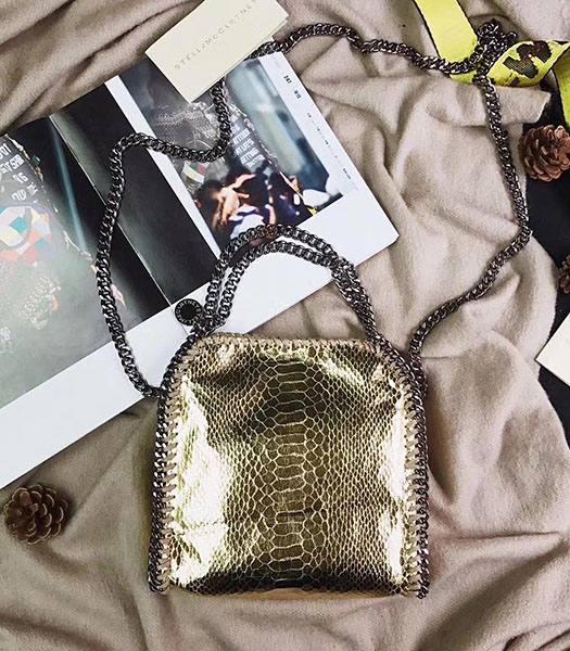 Stella McCartney Falabella Golden Snake Veins Oil Wax 16cm Tote Shoulder Bag